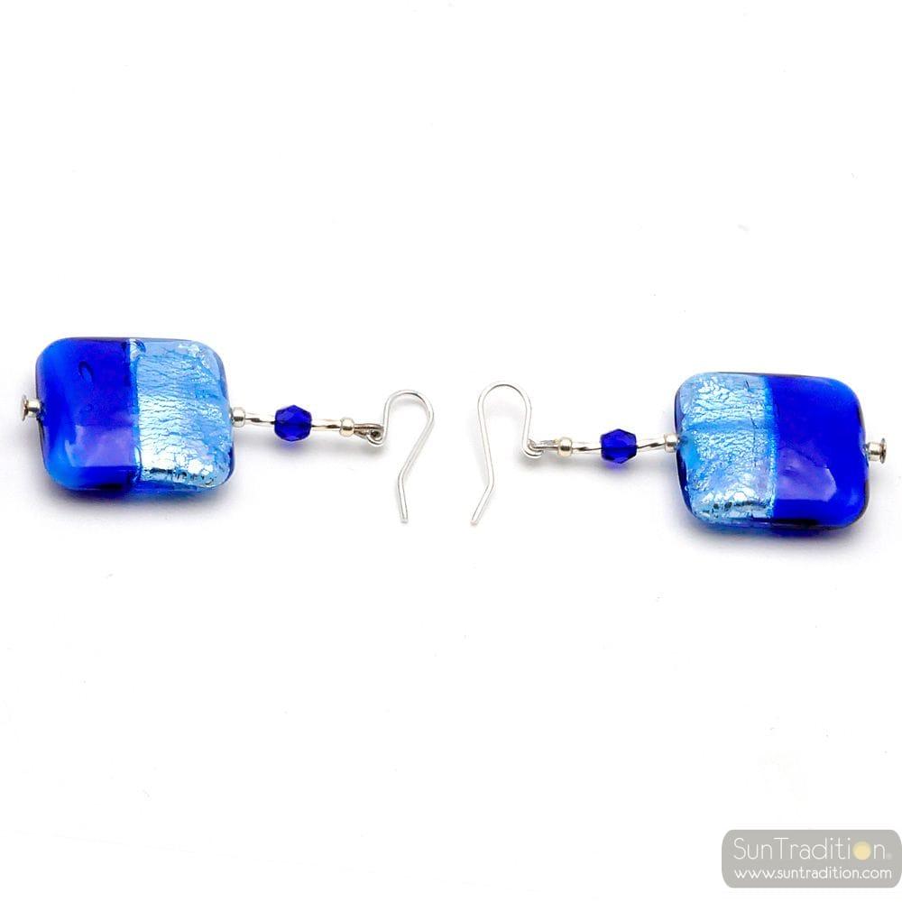BLAUE OHRRINGE GLAS