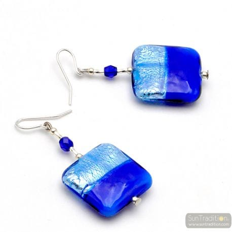 BLUE EARRINGS GENUINE MURANO GLASS OF VENICE