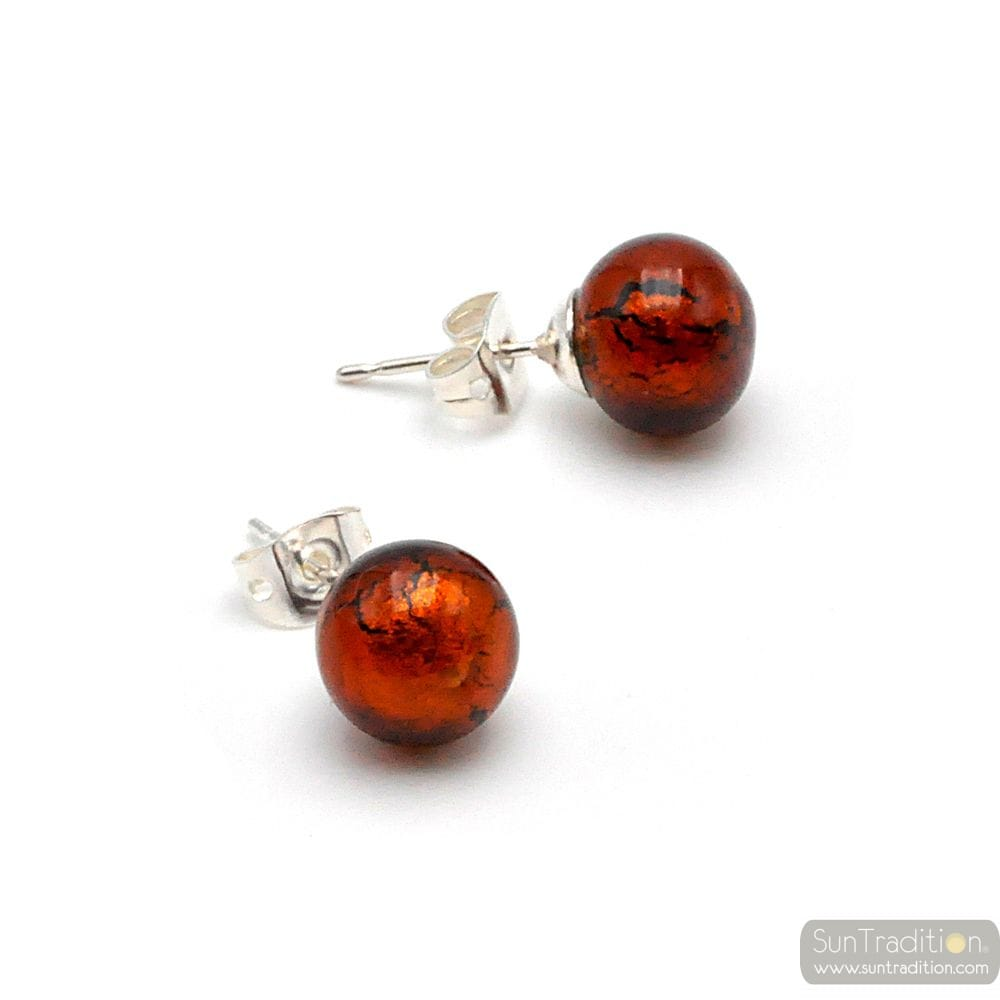 DARK AMBER EARRINGS STUDS - ROUND BUTTON NAIL EARRINGS GENUINE MURANO GLASS OF VENICE