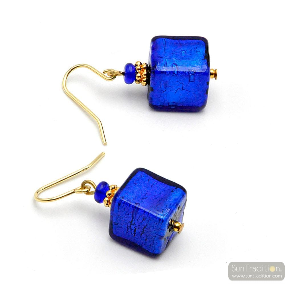AMERICA BLUE COBALT - BLUE GOLD EARRINGS GENUINE MURANO GLASS VENICE