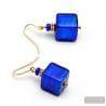 AMERICA BLUE COBALT - BLUE GOLD EARRINGS GENUINE MURANO GLASS VENICE