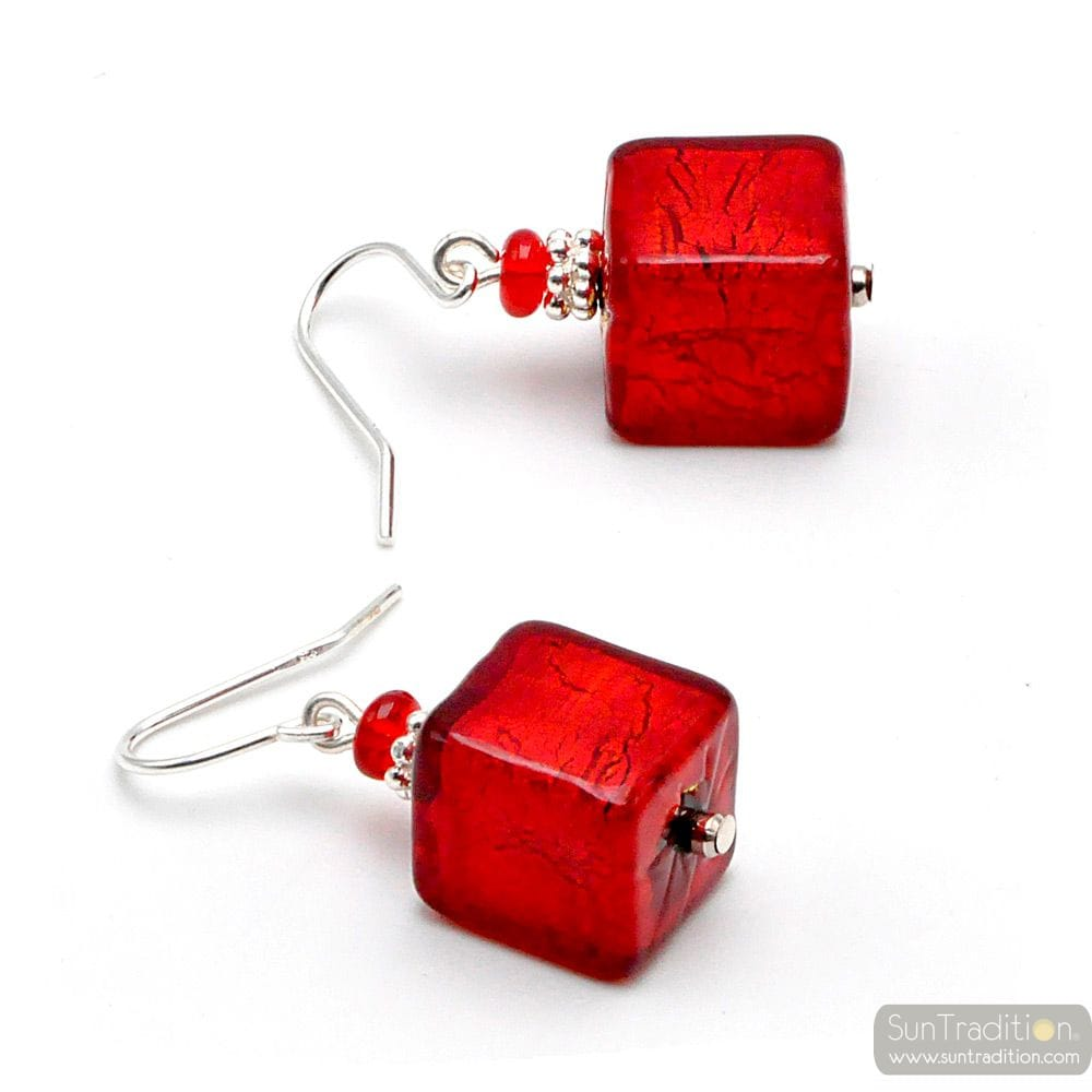 AMERICA RED AND GOLD - PENDIENTES ROJAS DE CRISTAL DE MURANO REAL DE VENECIA
