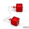 AMERICA RED AND SILVER - RED JEWEL EARRINGS MADE OF REAL MURANO GLASS FROM VENICE