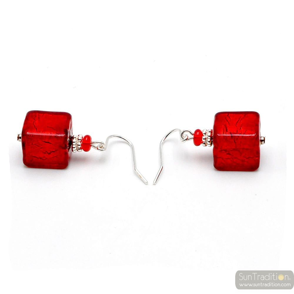 AMERICA RED AND GOLD - RED JEWEL EARRINGS MADE OF REAL MURANO GLASS FROM VENICE