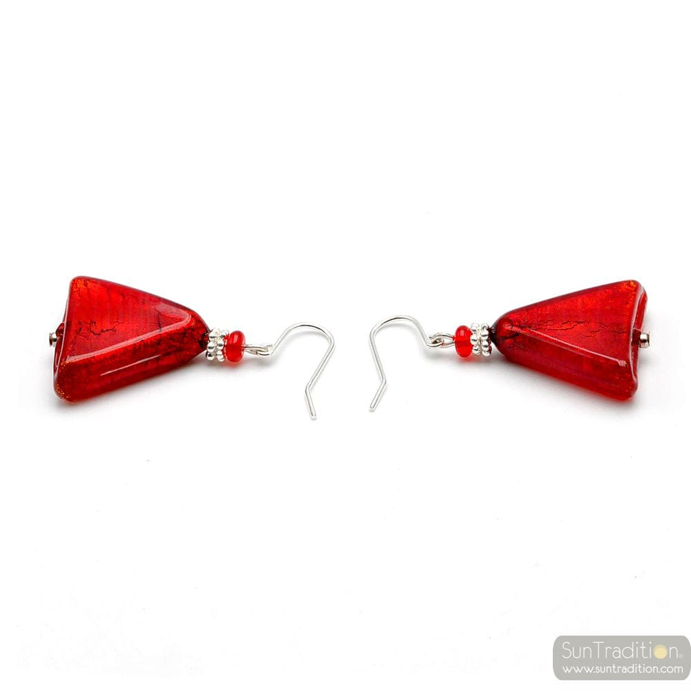 ANDROMEDA - RED TRIANGLE EARRINGS IN GENUINE MURANO GLASS FROM VENICE