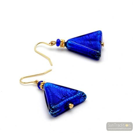 ANDROMEDA - COBALT BLUE TRIANGLE EARRINGS IN REAL GLASS OF MURANO IN VENICE