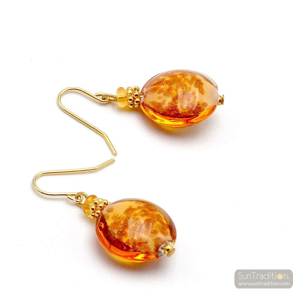PASTIGLIA AURORA AMBER - AMBER MURANO GLASS EARRINGS JEWELLERY GENUINE MURANO GLASS OF VENICE