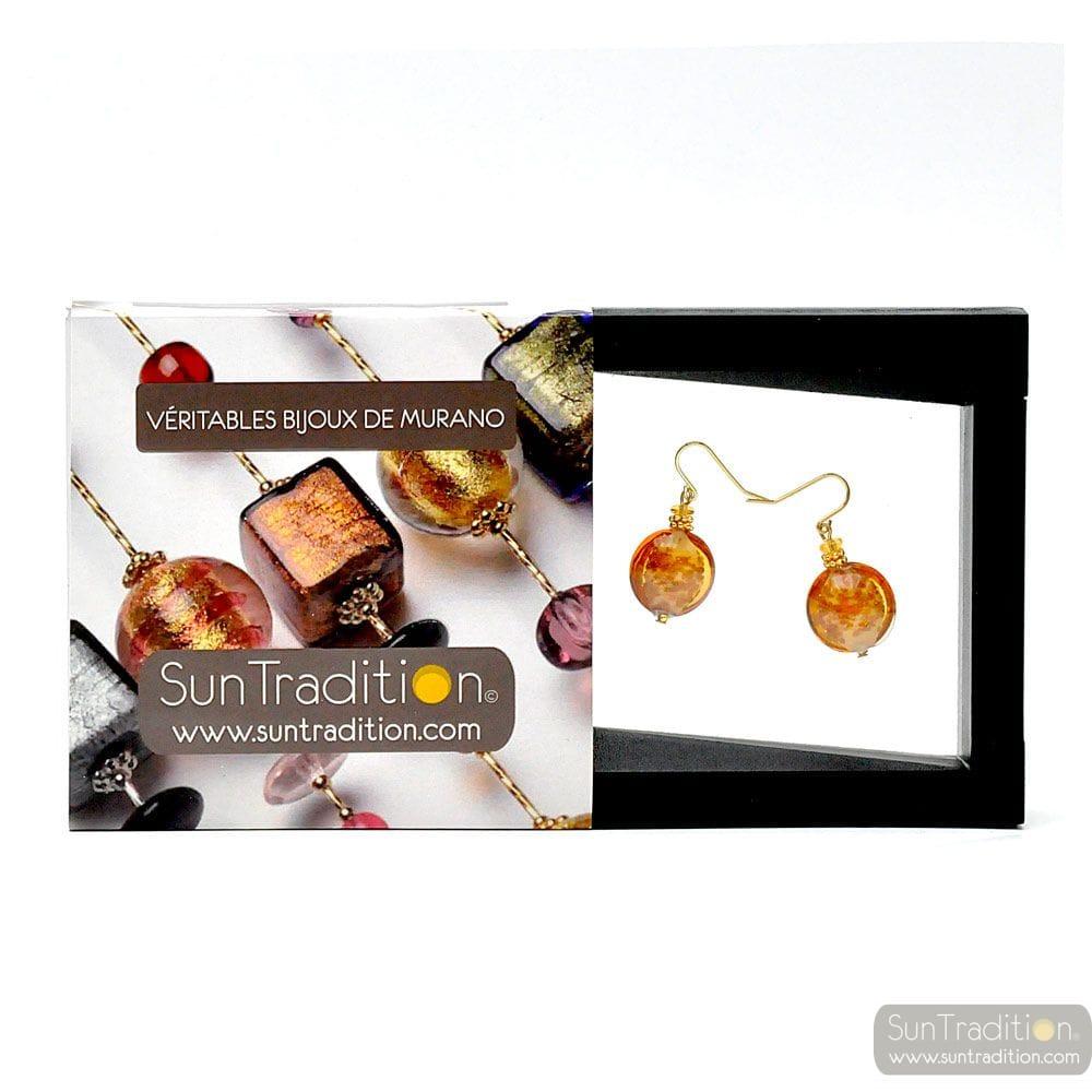 PASTIGLIA AURORA GOLD - MURANO GLASS EARRINGS JEWELLERY GENUINE MURANO GLASS OF VENICE