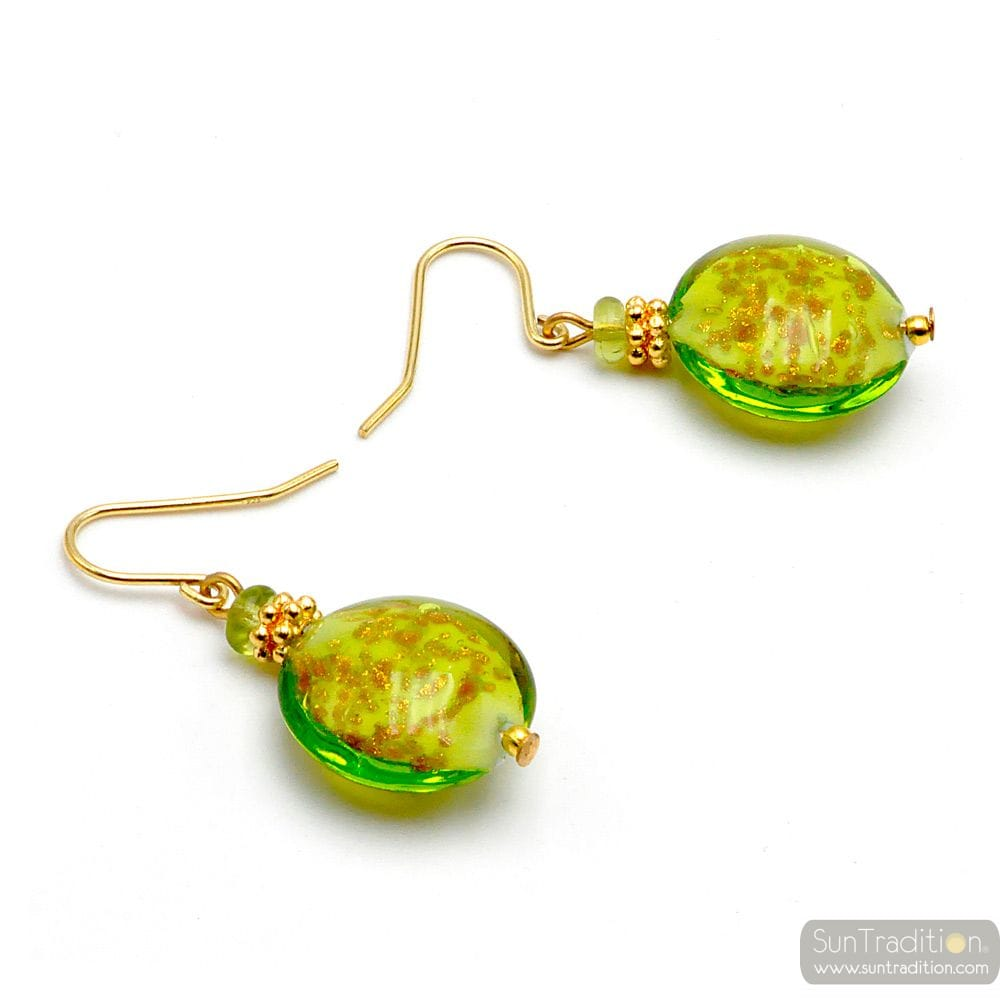 PASTIGLIA AURORA GREEN ANISE - LIME GREEN MURANO GLASS EARRINGS JEWEL GENUINE MURANO GLASS OF VENICE