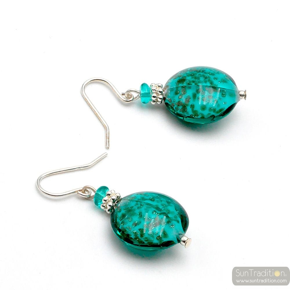 PASTIGLIA AURORA GREEN EMERALD - GREEN EMERALD MURANO GLASS EARRINGS GENUINE GLASS OF VENICE
