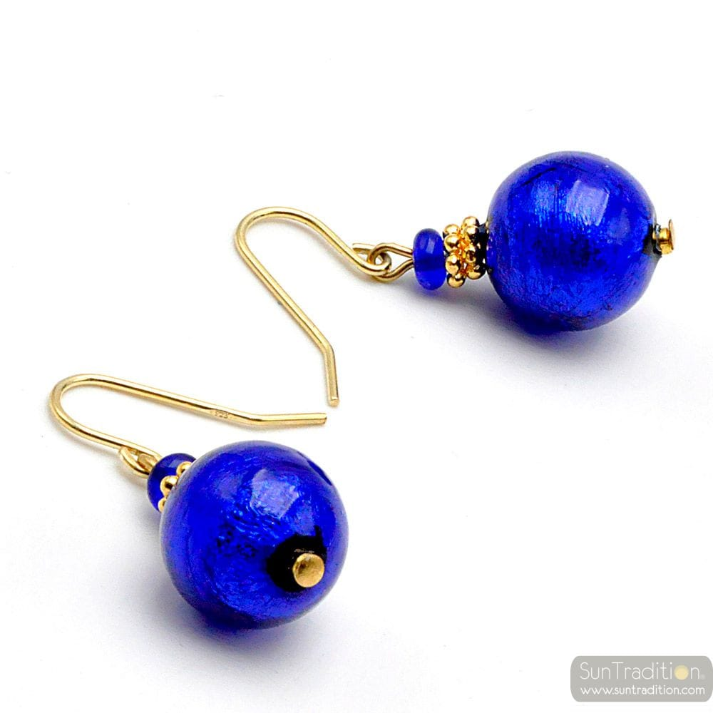 BALL COBALT BLUE - BLUE COBALT EARRINGS JEWELRY IN GENUINE MURANO GLASS FROM VENICE