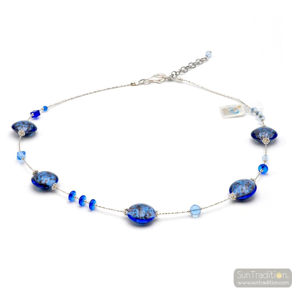 PASTIGLIA AURORA BLUE NAVY - KETTING MARINE BLAUW MURANO GLAS VAN VENETIË