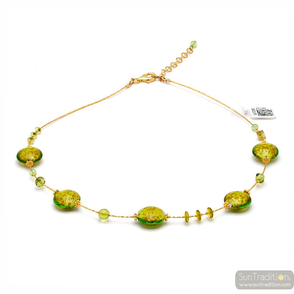 PASTIGLIA AURORA GREEN ANISE - MURANO GLASS GREEN NECKLACE OF VENICE