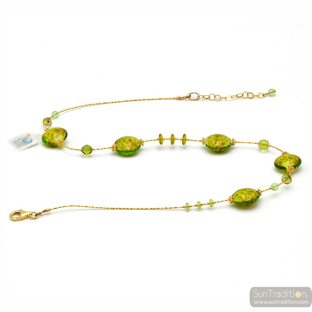 PASTIGLIA AURORA GREEN ANISE - MURANO GLASS GREEN NECKLACE OF VENICE