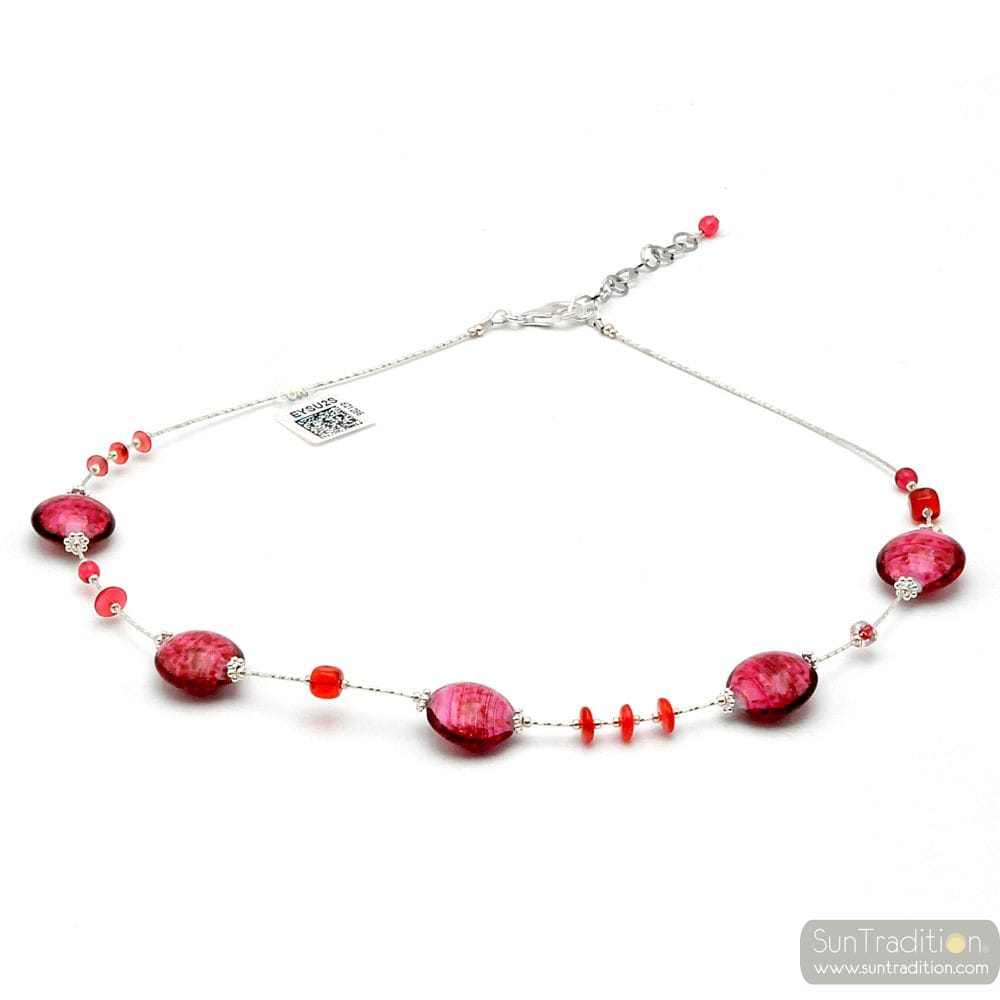PASTIGLIA AURORA ROSE - MURANO GLASS ROSE NECKLACE FROM VENICE