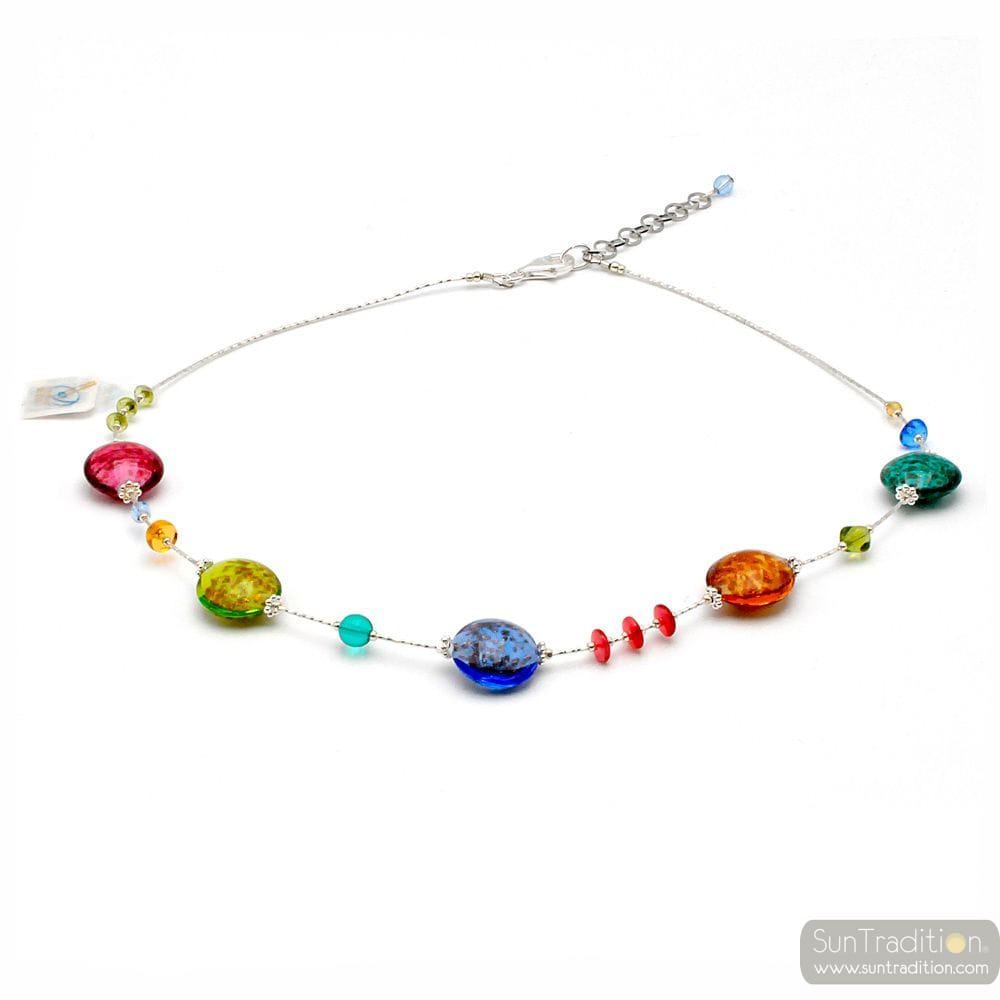PASTIGLIA AURORA MULTICOLOURED - MULTICOLOR MURANO GLASS NECKLACE VENICE