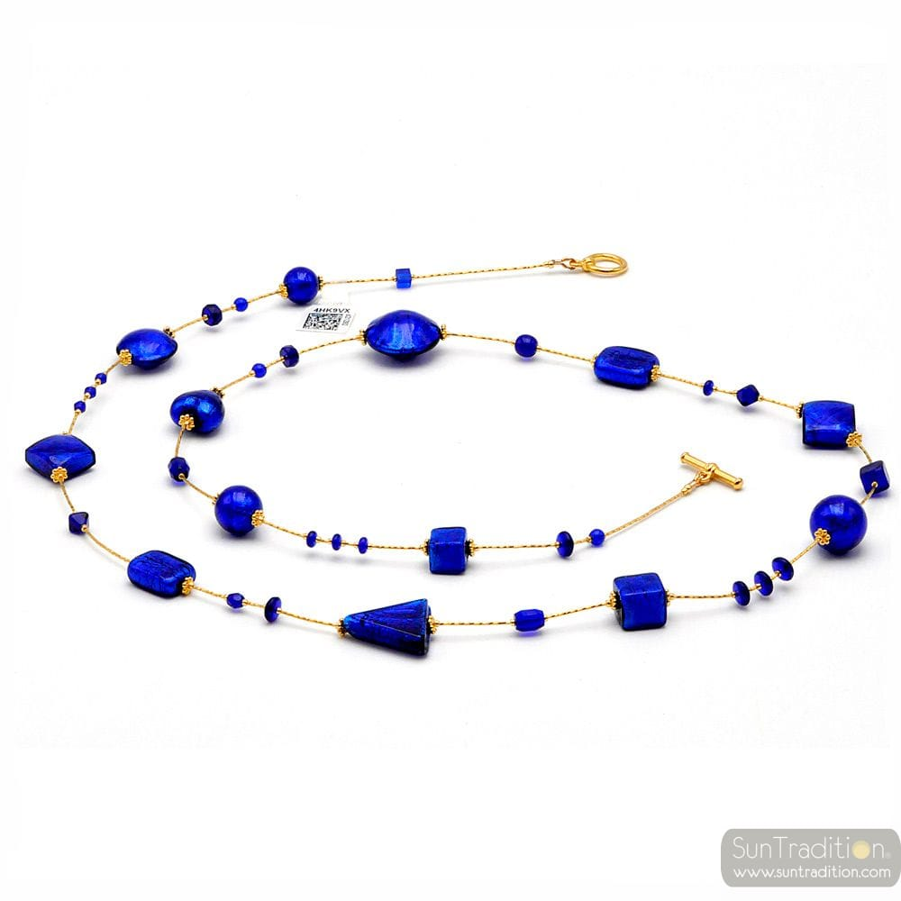 ANDROMEDA COBALT BLUE - SAUTOIR NECKLACE COBALT BLUE MURANO GLASS OF VENICE
