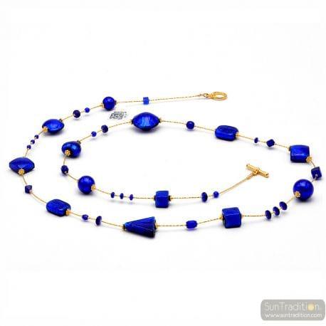 ANDROMEDA COBALT BLUE - SAUTOIR NECKLACE COBALT BLUE MURANO GLASS OF VENICE