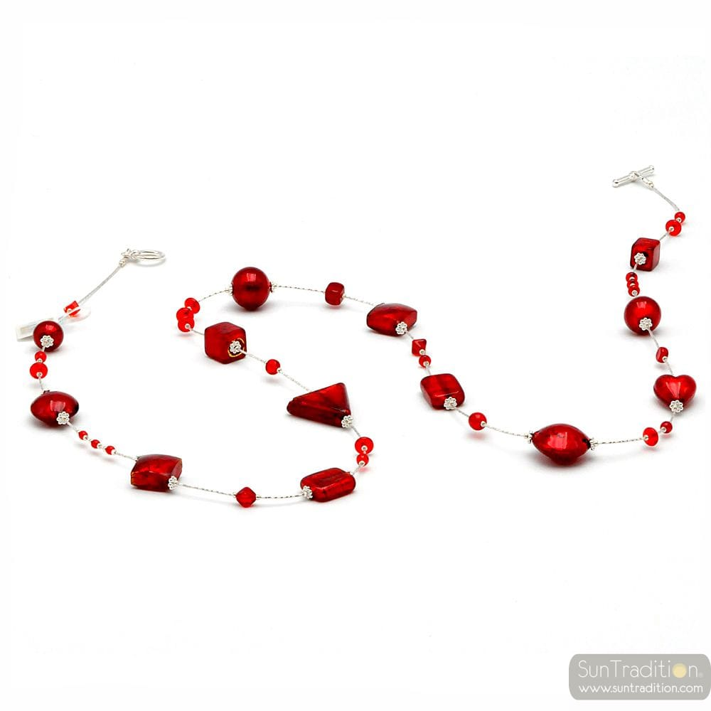 ANDROMEDA RED - RED CHOKER NECKLACE RED MURANO GLASS OF VENICE
