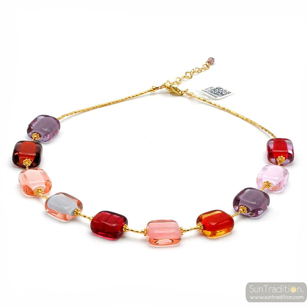 COLLIER MULTICOLORE PASTEL EN VERITABLE VERRE DE MURANO