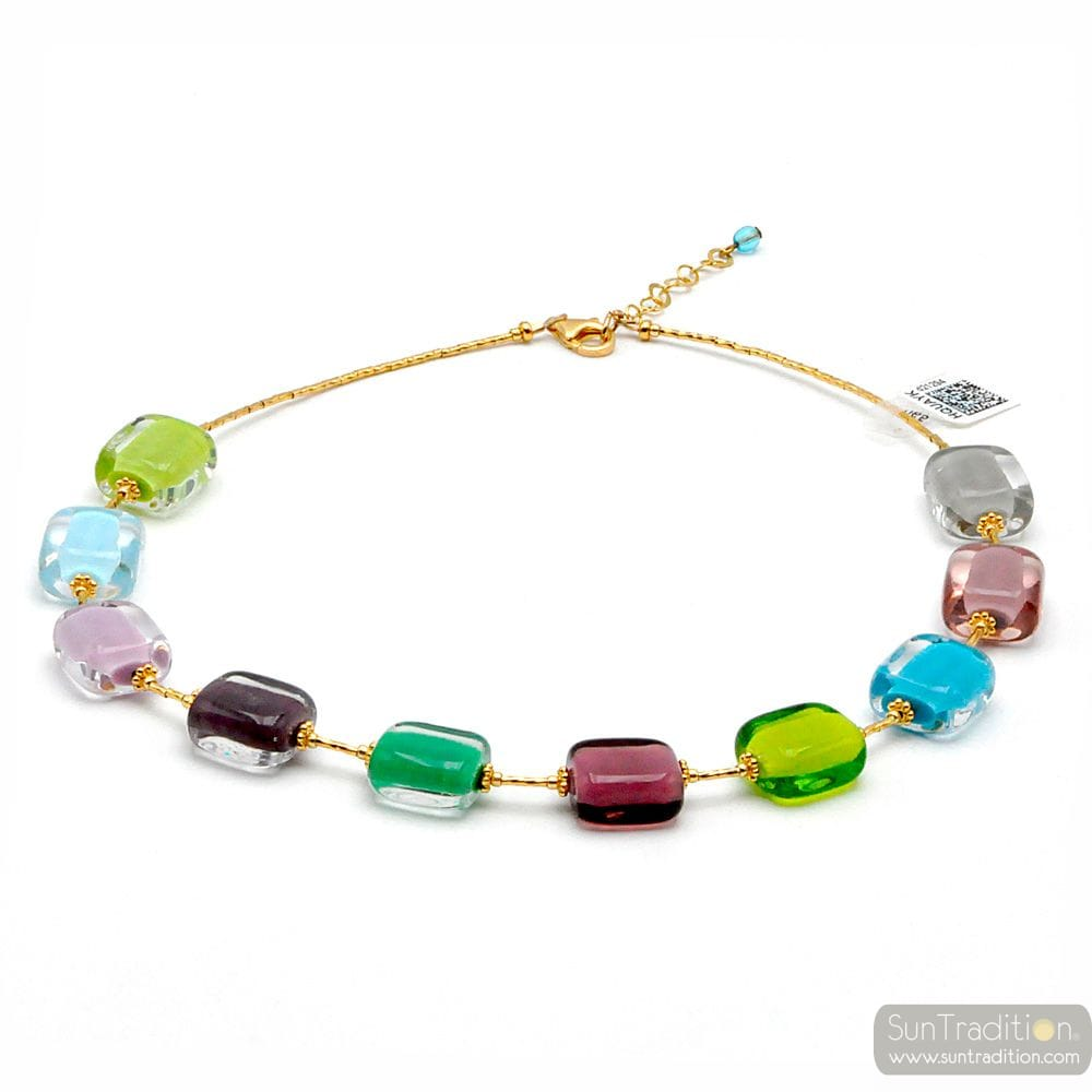 COLLIER MULTICOLORE CLAIR PASTEL EN VERITABLE VERRE DE MURANO