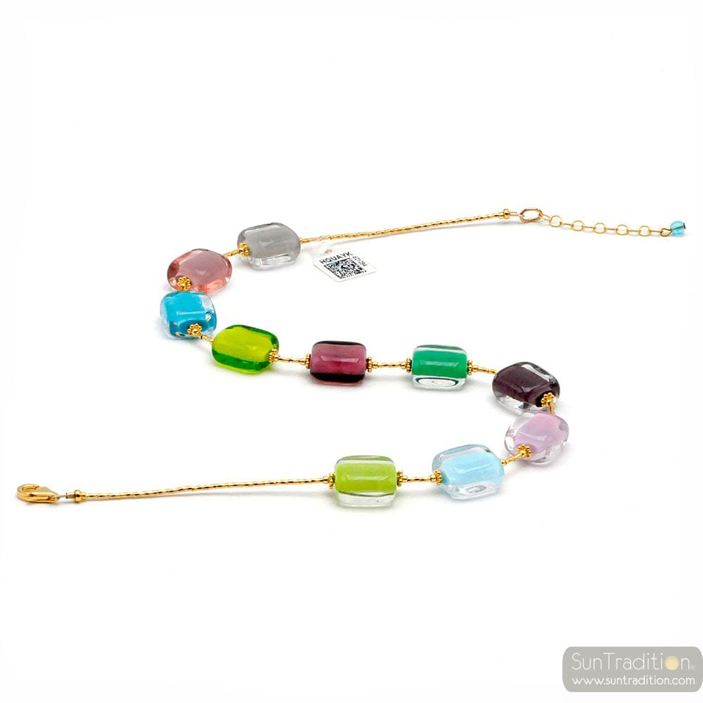 SCHISSA PASTEL SPRING - MULTICOLOR LIGHT PASTEL NECKLACE IN REAL MURANO GLASS
