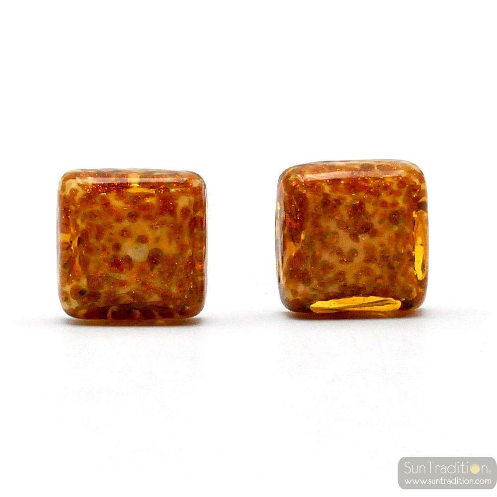CUFFLINKS AMBER AND GOLD AVVENTURINE IN GENUINE MURANO GLASS FROM VENICE
