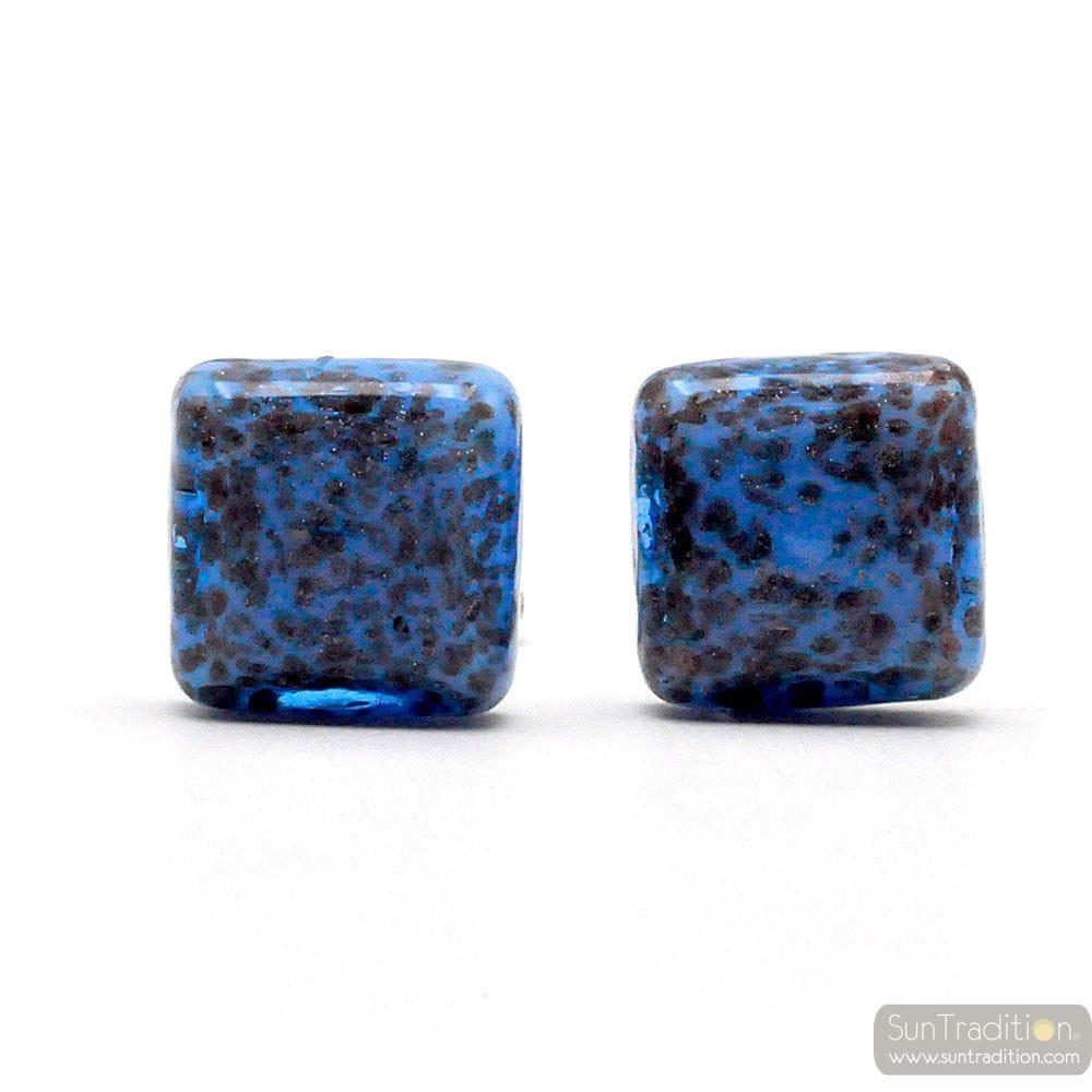 CUFFLINKS BLUE AVVENTURINE IN GENUINE MURANO GLASS FROM VENICE