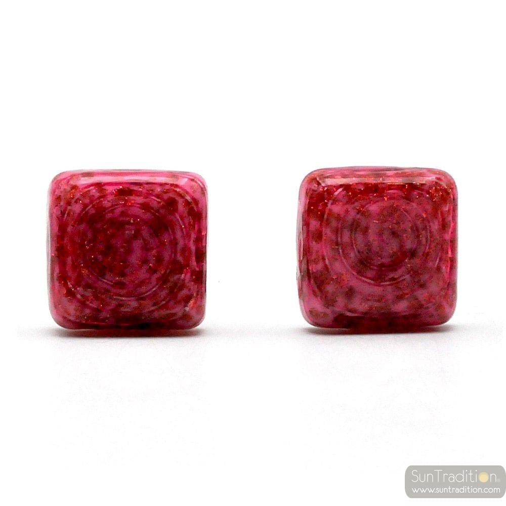 CUFFLINKS PINK AVVENTURINE IN GENUINE MURANO GLASS FROM VENICE