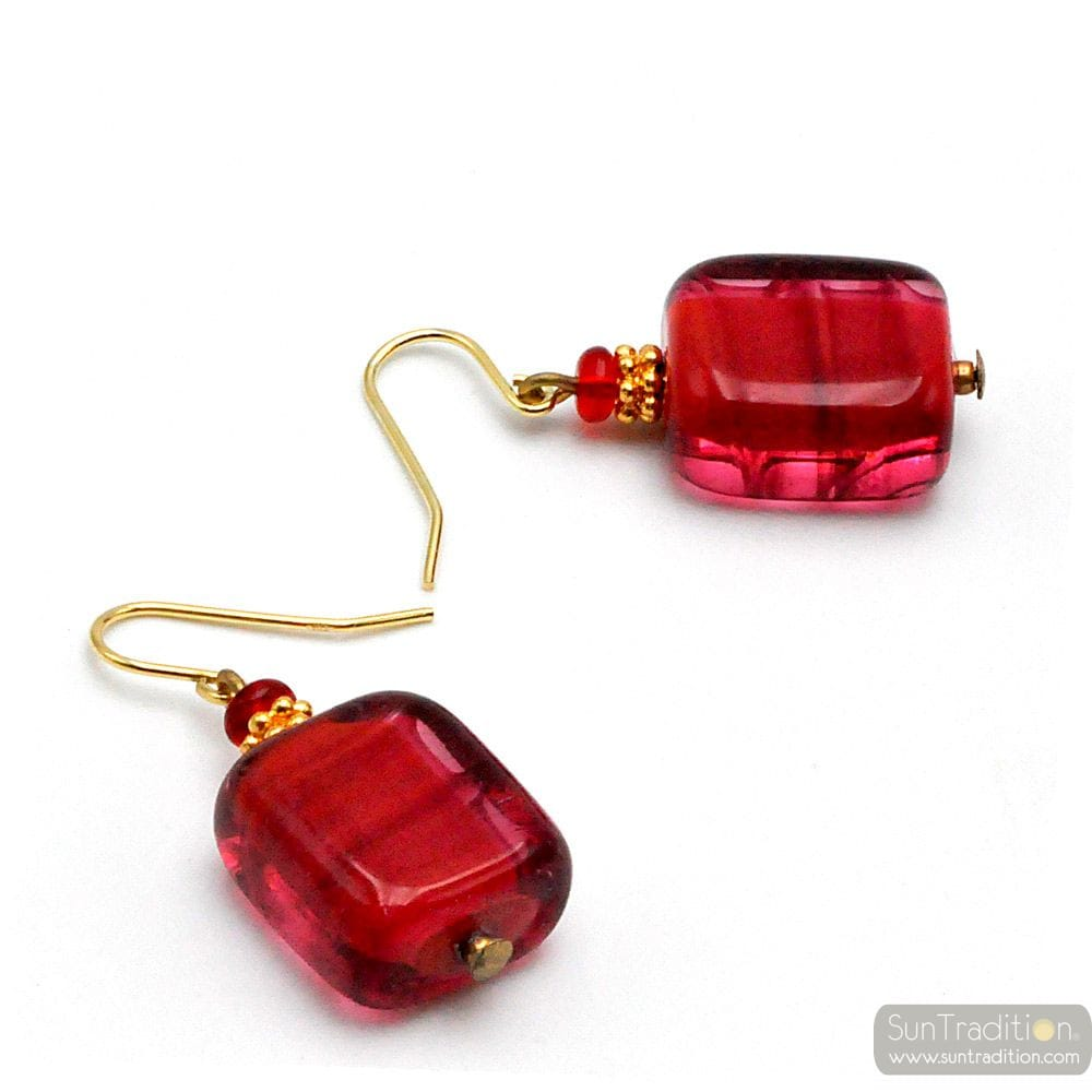 RED MURANO GLASS EARRINGS GENUINE VENICE GLASS