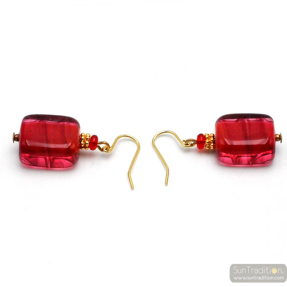DARK RED MURANO GLASS EARRINGS GENUINE VENICE GLASS