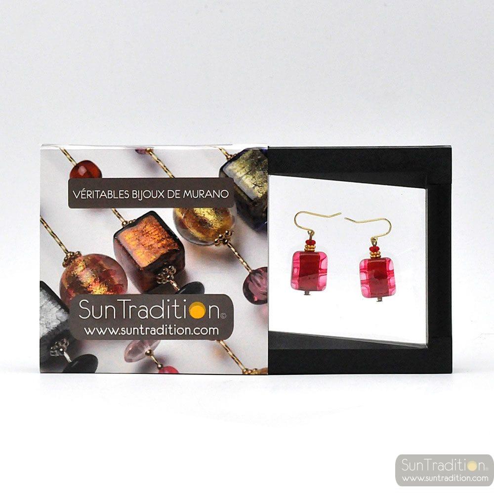 SCHISSA PASTEL RED - RED MURANO GLASS EARRINGS GENUINE VENICE GLASS