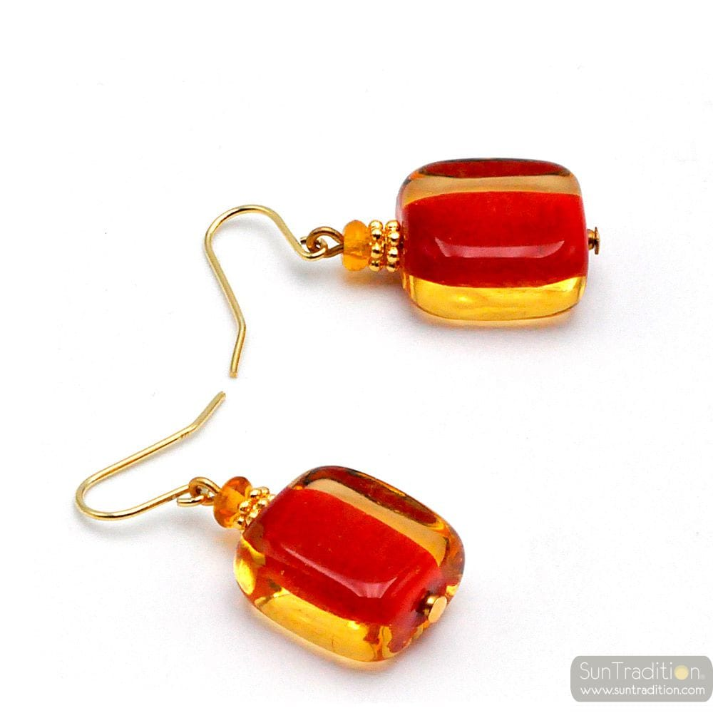 AMBER RED MURANO GLASD EARRINGS GENUINE VENICE GLASS