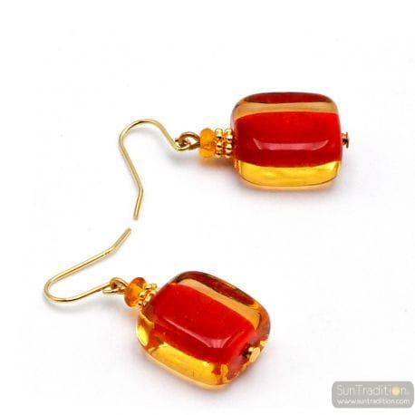 AMBER RED MURANO GLASD EARRINGS GENUINE VENICE GLASS