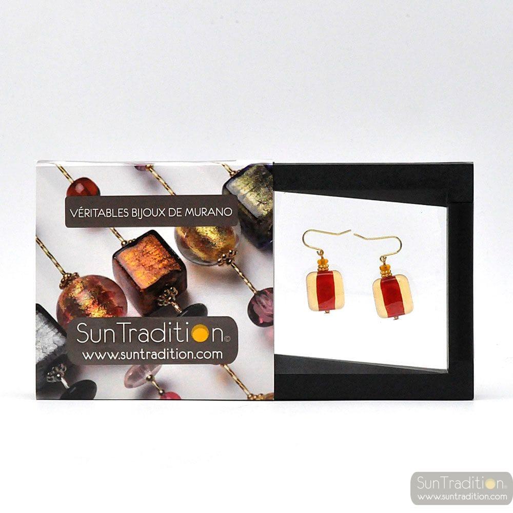 SCHISSA PASTEL AMBER RED - AMBER RED MURANO GLASD EARRINGS GENUINE VENICE GLASS