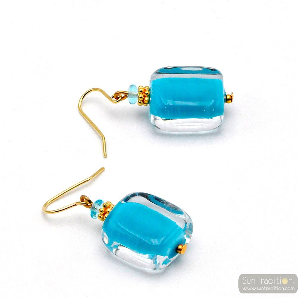 SCHISSA PASTEL BLUE - BLUE MURANO GLASS EARRINGS GENUINE VENICE GLASS