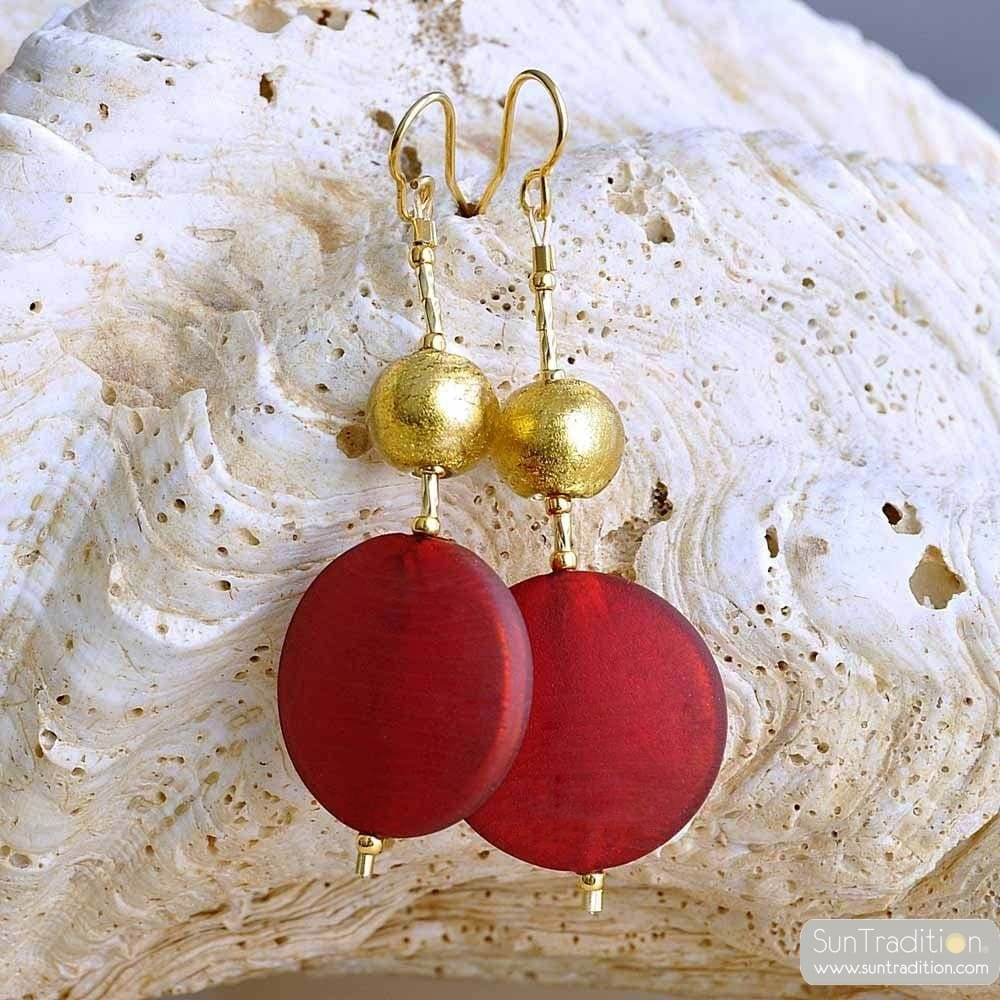 FRANCY RED SATIN EARRINGS GENUINE VENICE MURANO GLASS