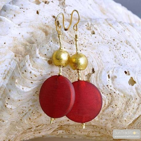 RED MURANO GLASS PENDANT EARRINGS