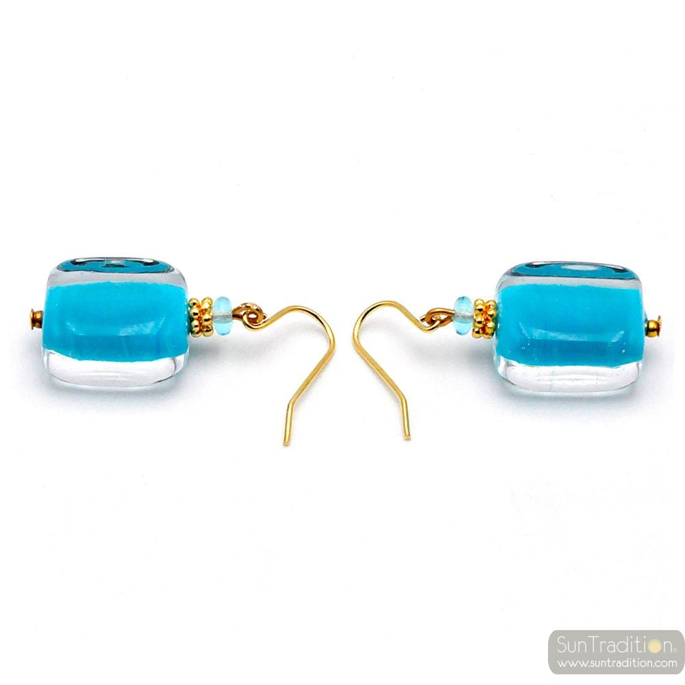 BOUCLES D'OREILLES BLEU RECTANGLE BIJOU EN VERITABLE VERRE DE MURANO