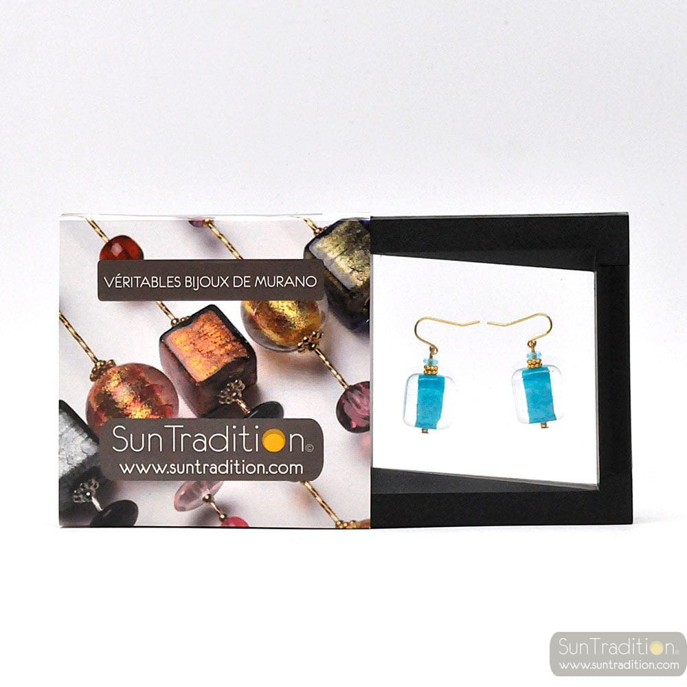 SCHISSA PASTEL BLUE - BLUE MURANO GLASS EARRINGS GENUINE VENICE GLASS