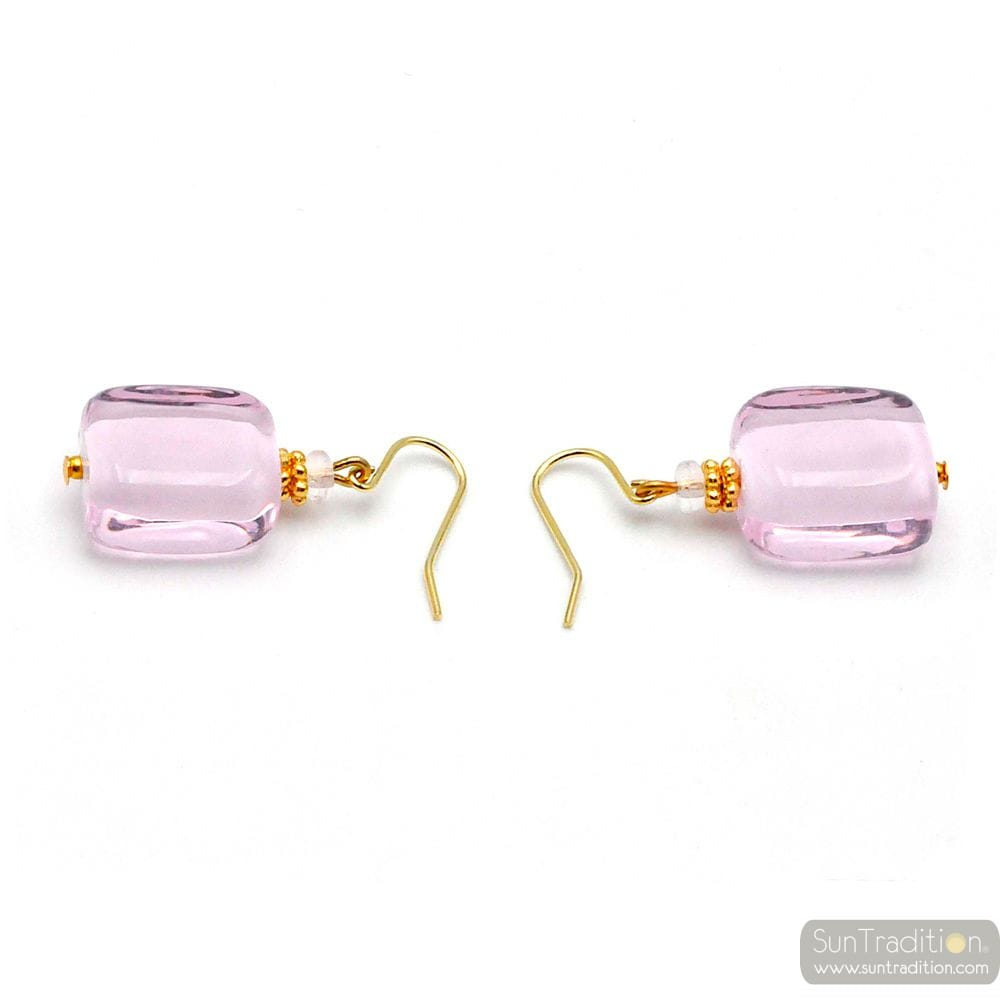 PINK MURANO GLASS EARRINGS JEWELLERY GENUINE VENICE GLASS