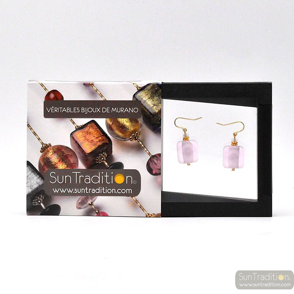 SCHISSA PASTEL PINK - ROSE MURANO GLASS EARRINGS JEWELLERY GENUINE VENICE GLASS