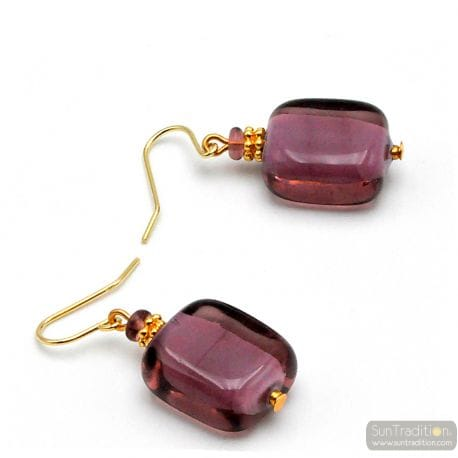 AMETHYST MURANO GLASS EARRINGS GENUINE VENICE GLASS