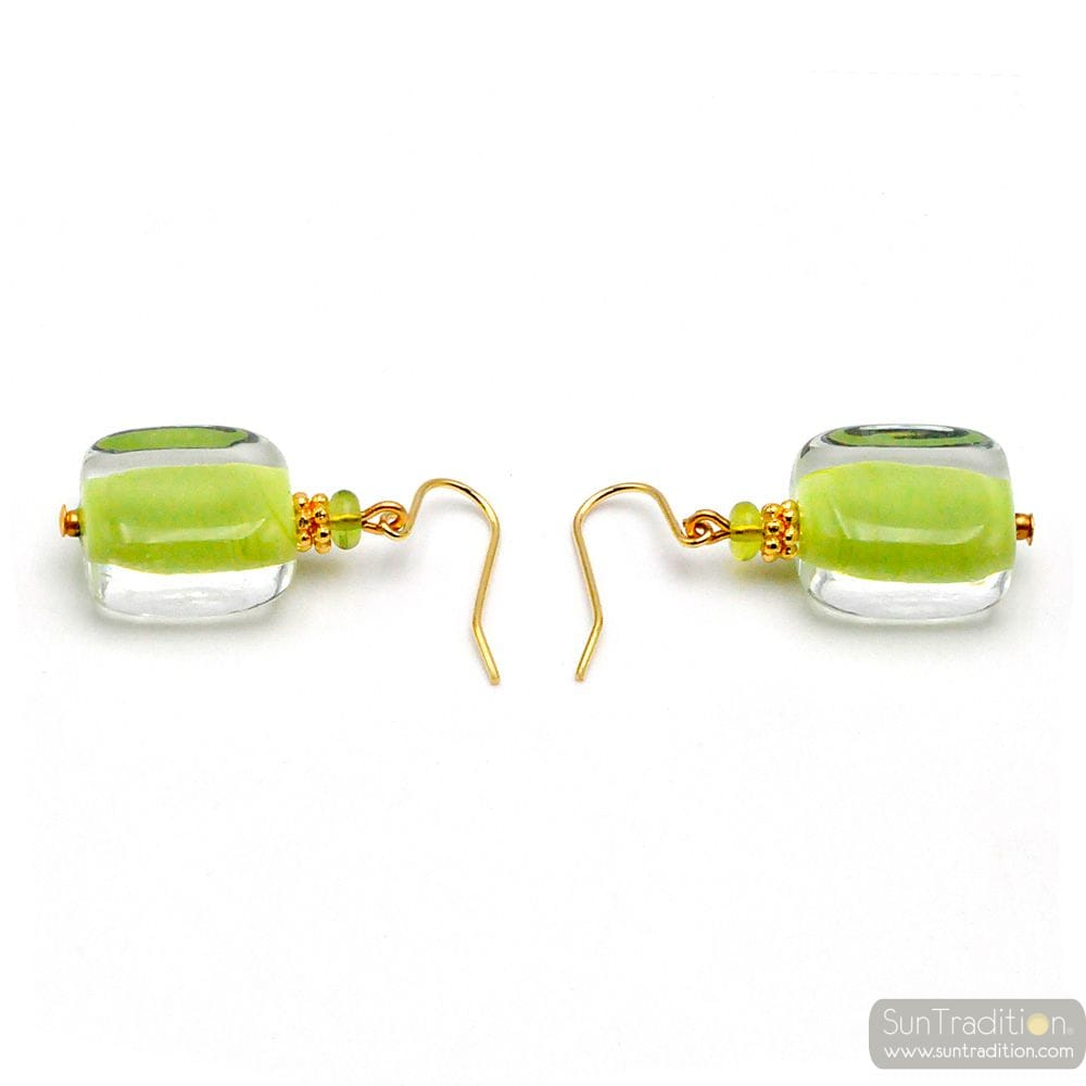 GREEN MURANO GLASS EARRINGS GENUINE VENICE GLASS
