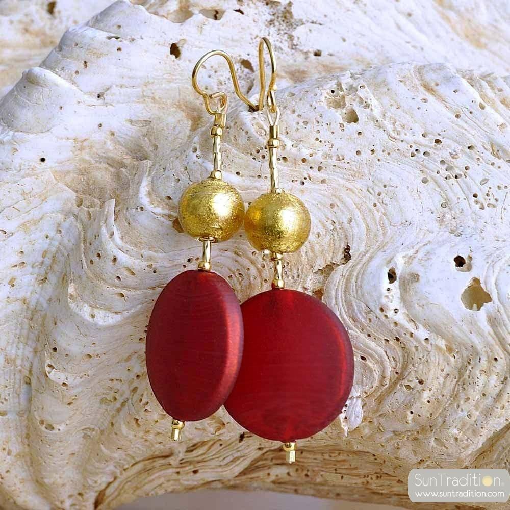 RED MURANO GLASS JAWELRY EARRINGS VENICE