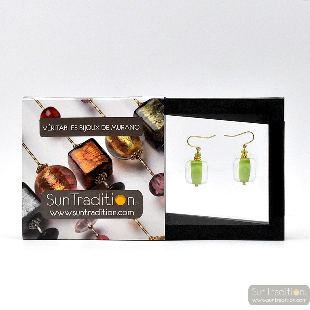 SCHISSA PASTEL ANISE - ANISE MURANO GLASS EARRINGS GENUINE VENICE GLASS