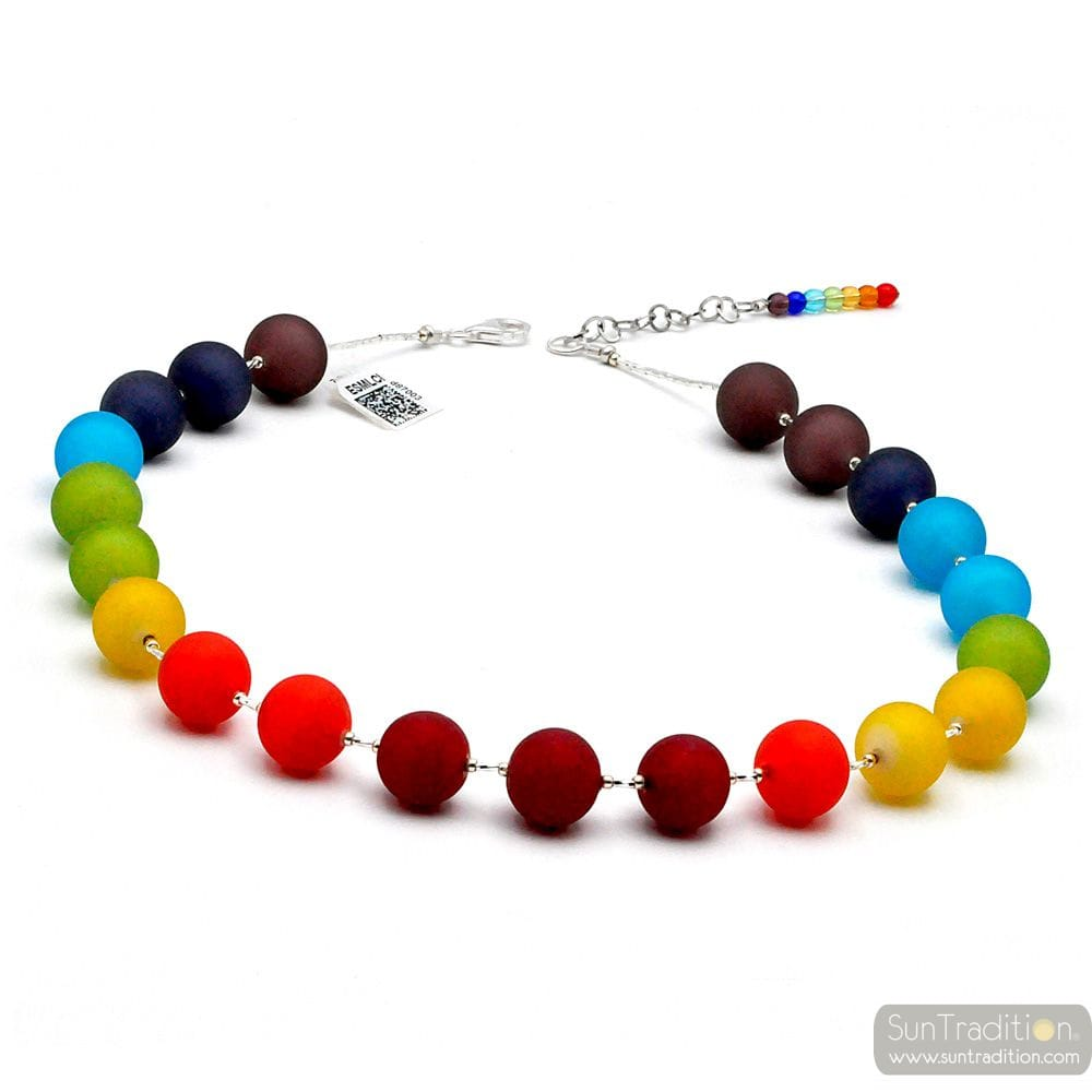 BALL SATIN ARCOBALENO - COLLIER MULTICOLORE SATIN EN VERITABLE VERRE DE MURANO