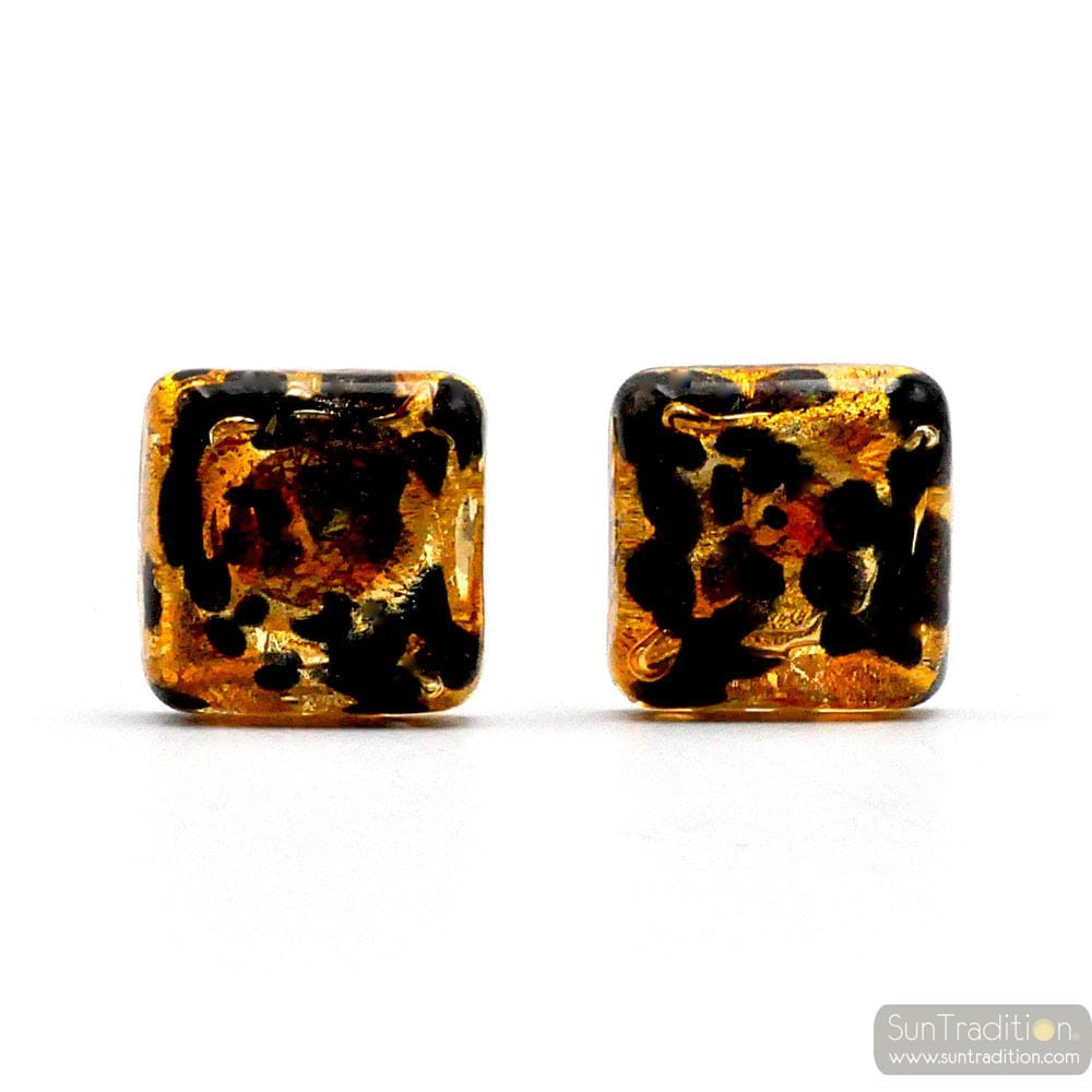 TAWNY GOLD CUFFLINKS IN GENUINE MURANO GLASS FROM VENICE