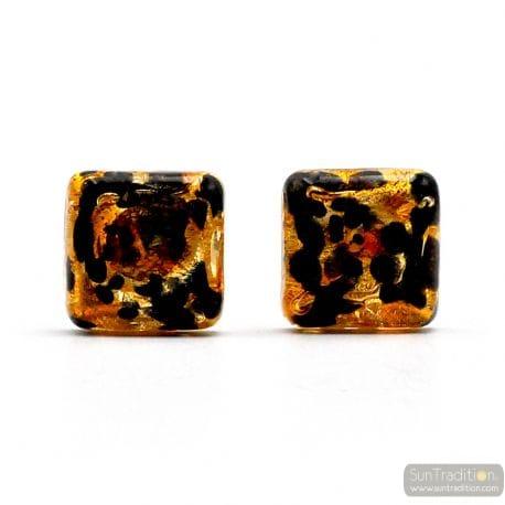 TAWNY GOLD CUFFLINKS IN GENUINE MURANO GLASS FROM VENICE