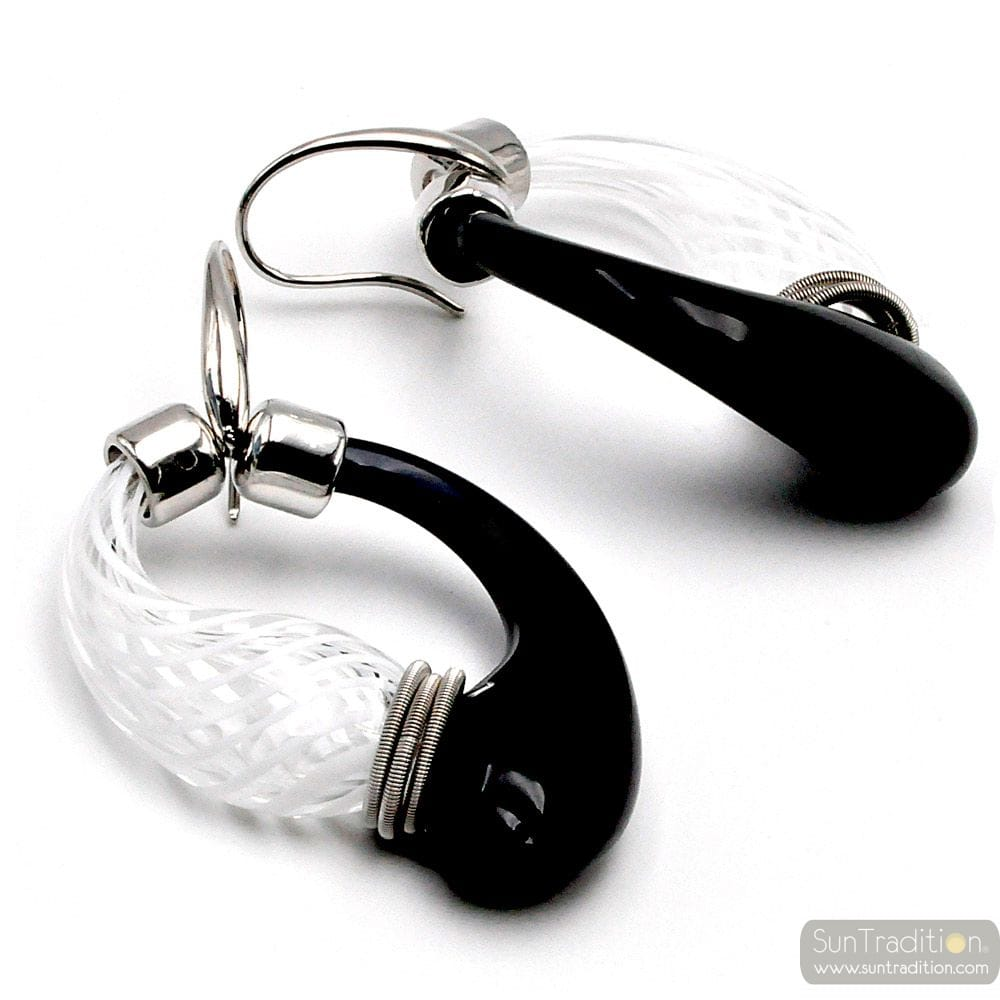 BLACK AND WHITE MURANO GLASS EARRINGS CREOLES GENUINE GLASS OF VENICE